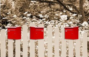 Briefksten drei am Gartenzaun